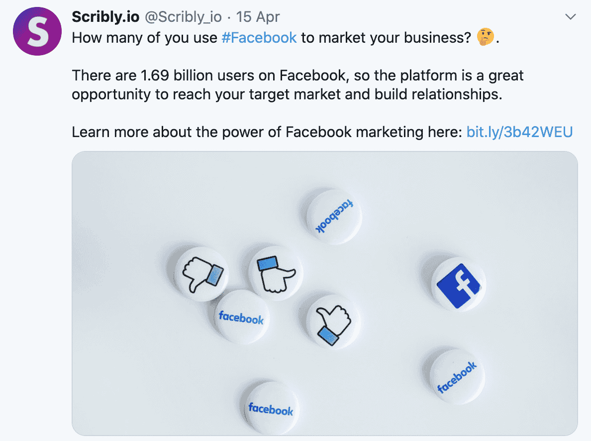 Scribly Twitter Post for 100 Pound Social Case Study