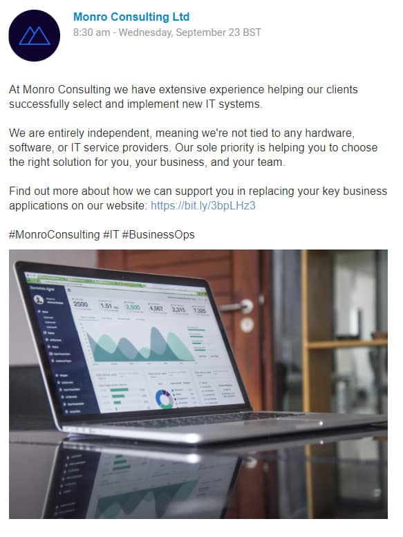 Monro Consulting Promotional Post for 100 Pound Social Review