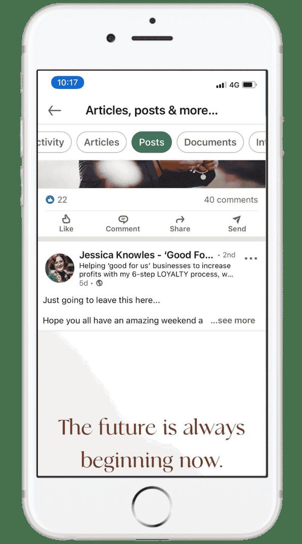 Jessica Knowles Mobile LinkedIn 100 Pound Social Case Study