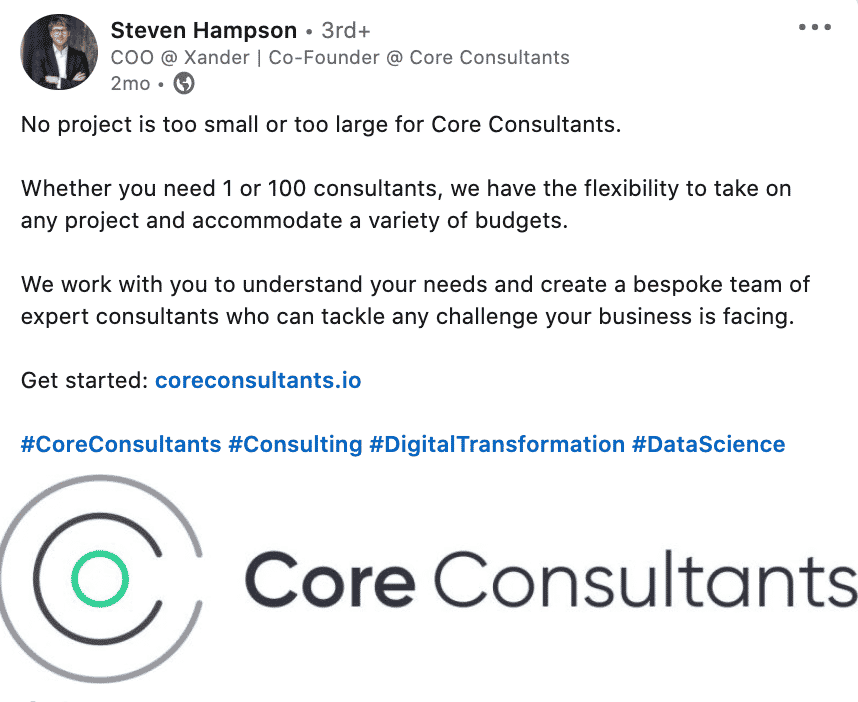 Core Consultants Post LinkedIn for 100 Pound Social Review