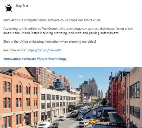 Bug Test social media post example